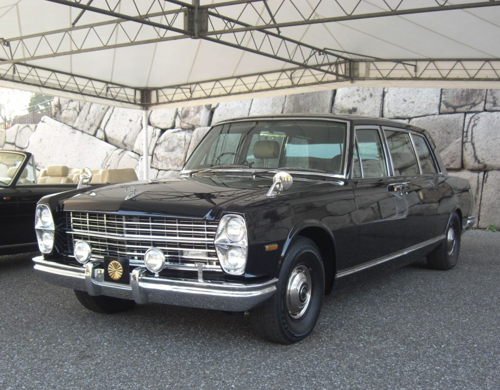Nissan Prince Royal [old Imperial Household limousine] (Front) (2009);By Coptic Light - Own work, CC BY-SA 4.0, https://commons.wikimedia.org/w/index.php?curid=54397203