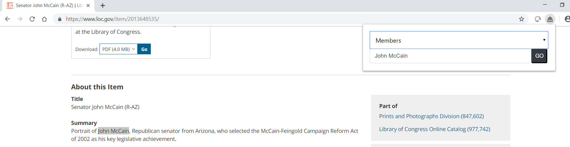 Using the Congress.gov browser extension to search for John McCain in the member profile collection in Congress.gov.