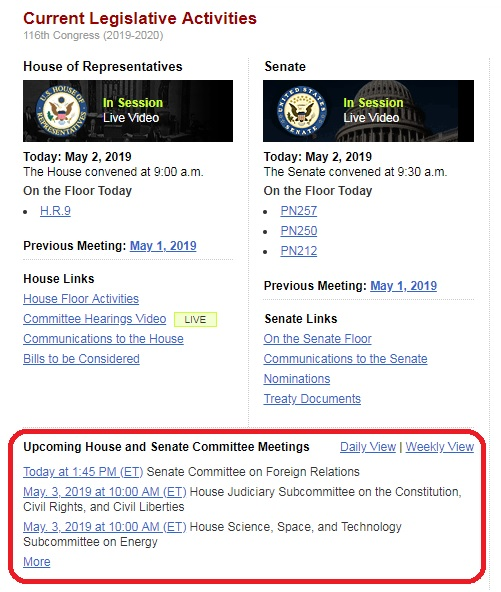Screenshot of the Congress.gov Homepage