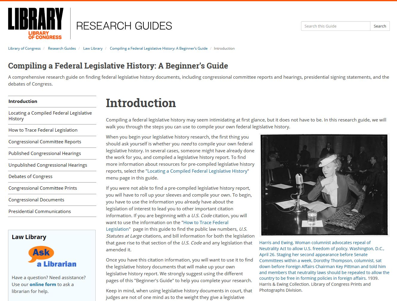 Introduction Page of Compiling a Federal Legislative History: A Beginner's Guide.