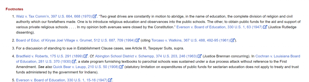 Footnotes in the Constitution Annotated link to the full text of United States Supreme Court cases.