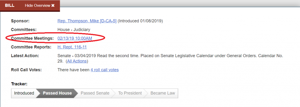 A link from the overview box on a legislation page to a committee meeting.