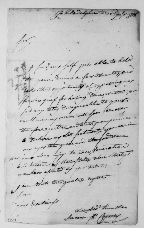 Major General Thomas Conway's Letter of Apology to Washington, July 23, 1778. George Washington Papers. Library of Congress Manuscripts Division. //www.loc.gov/item/mgw451279/