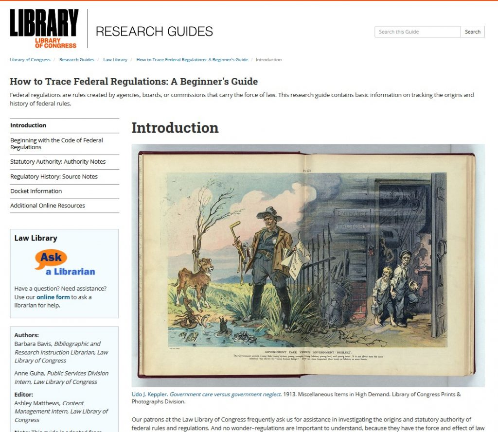 Introduction page of How to Trace Federal Regulations: A Beginner's Guide Research Guide