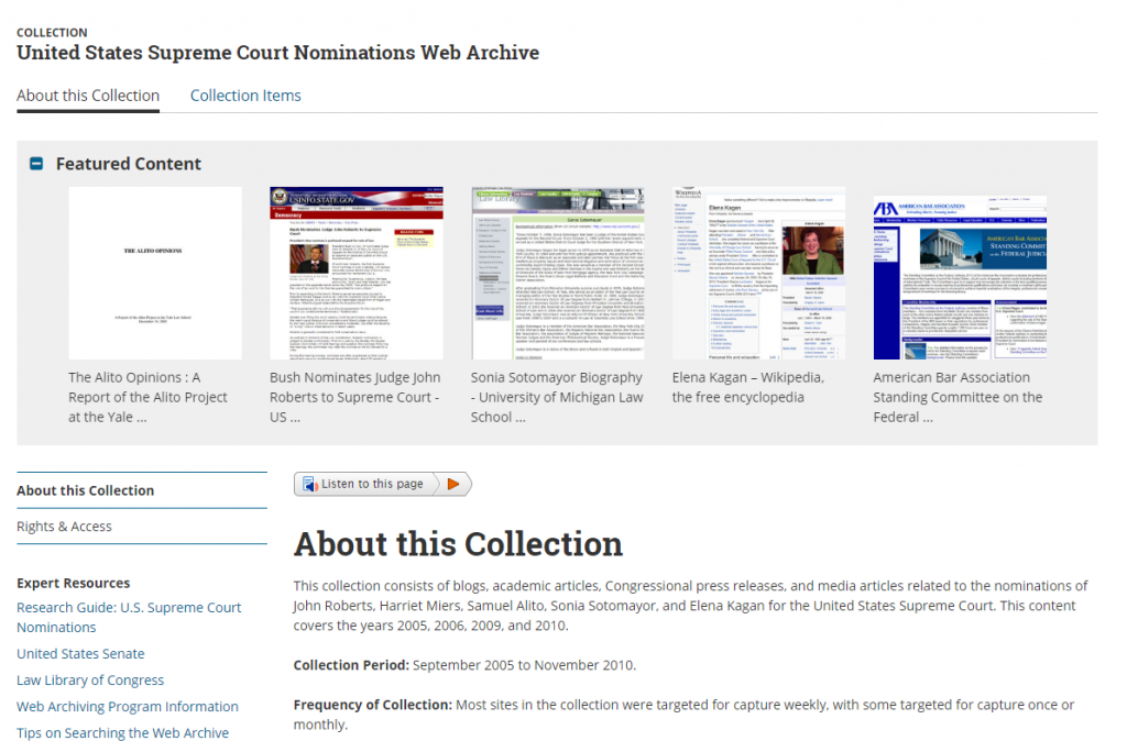 The Supreme Court Nominations Web Archive.