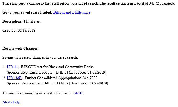 Sponsorship information has been added to saved search alerts for legislation on Congress.gov.