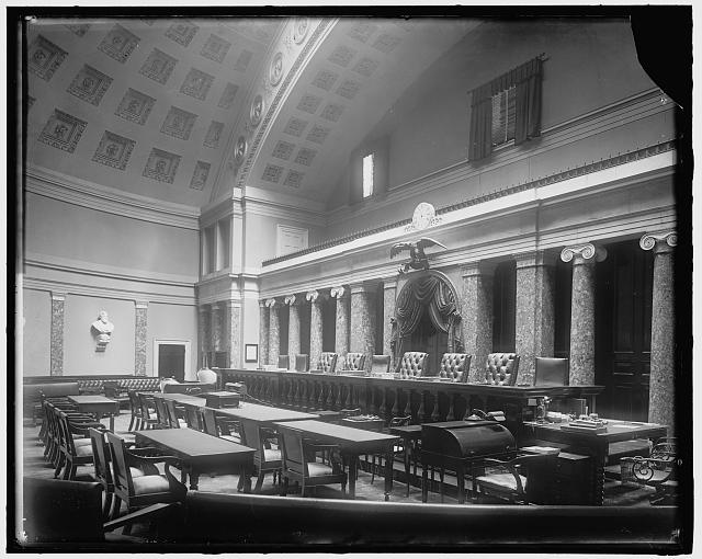 Harris & Ewing, photographer. SUPREME COURT, U.S. COURTROOM. [between 1905 and 1945]. Library of Congress Prints and Photographs Division.