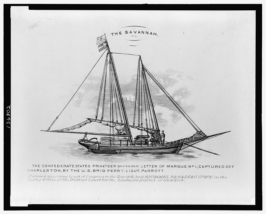 "A picture of a ship in black and white with the heading ""The Savannah."""