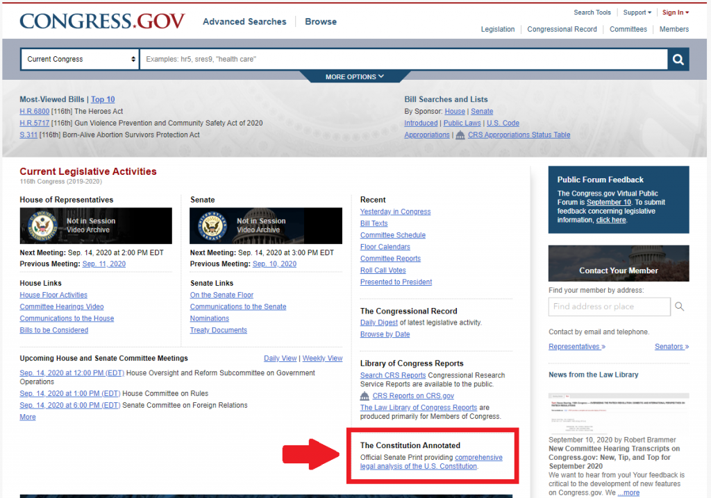 Figure 3: You can find a link to the Constitution Annotated on the homepage of congress.gov as indicated above.