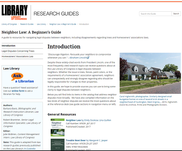 Screen capture of website for Neighbor Law Research Guide