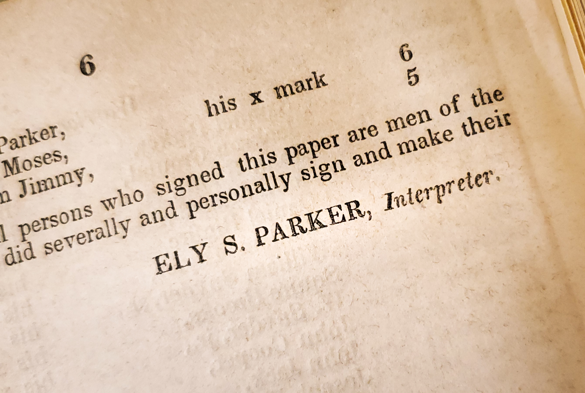 Photo of last page of S. Doc. 273, showing Ely S. Parker as the Interpreter for the Native American Chiefs and Warriors who submitted the petition.