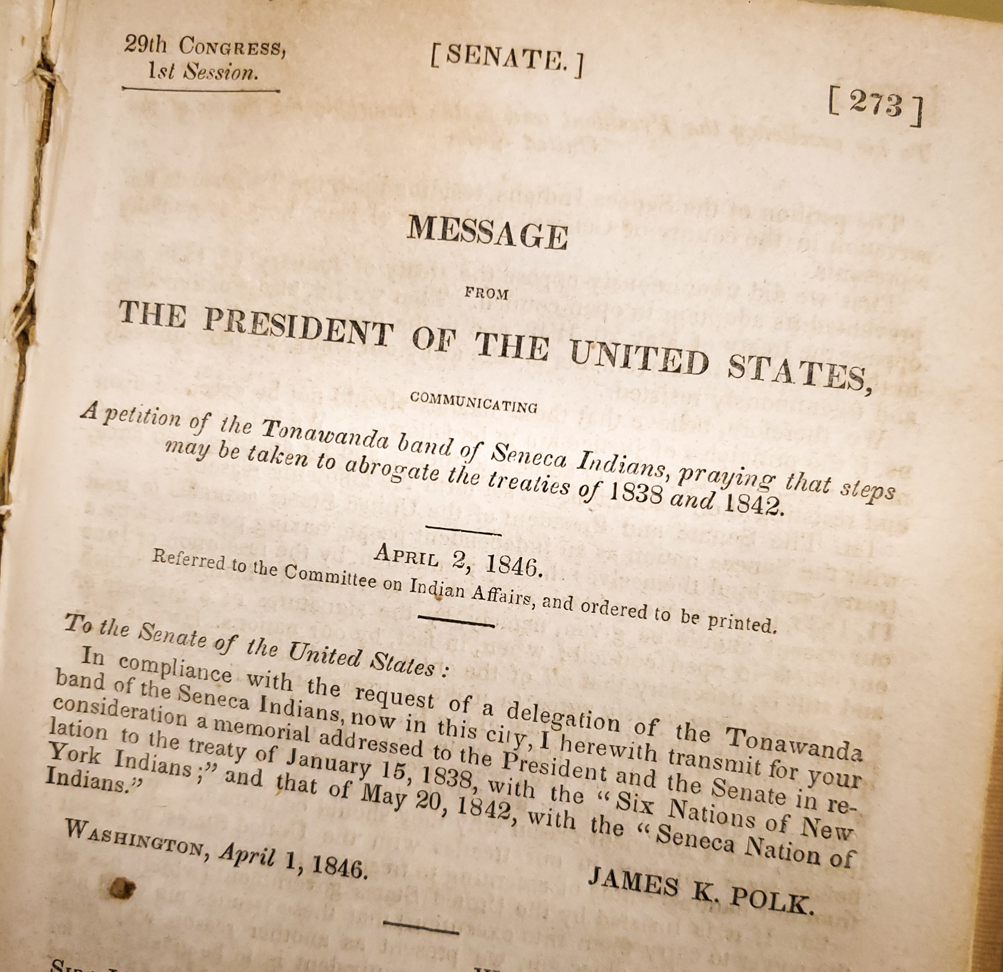 Photo of the first page of S. Doc. 273, Message from the President of the United States, introducing the petition of the Tanawanda band of Seneca Indians.