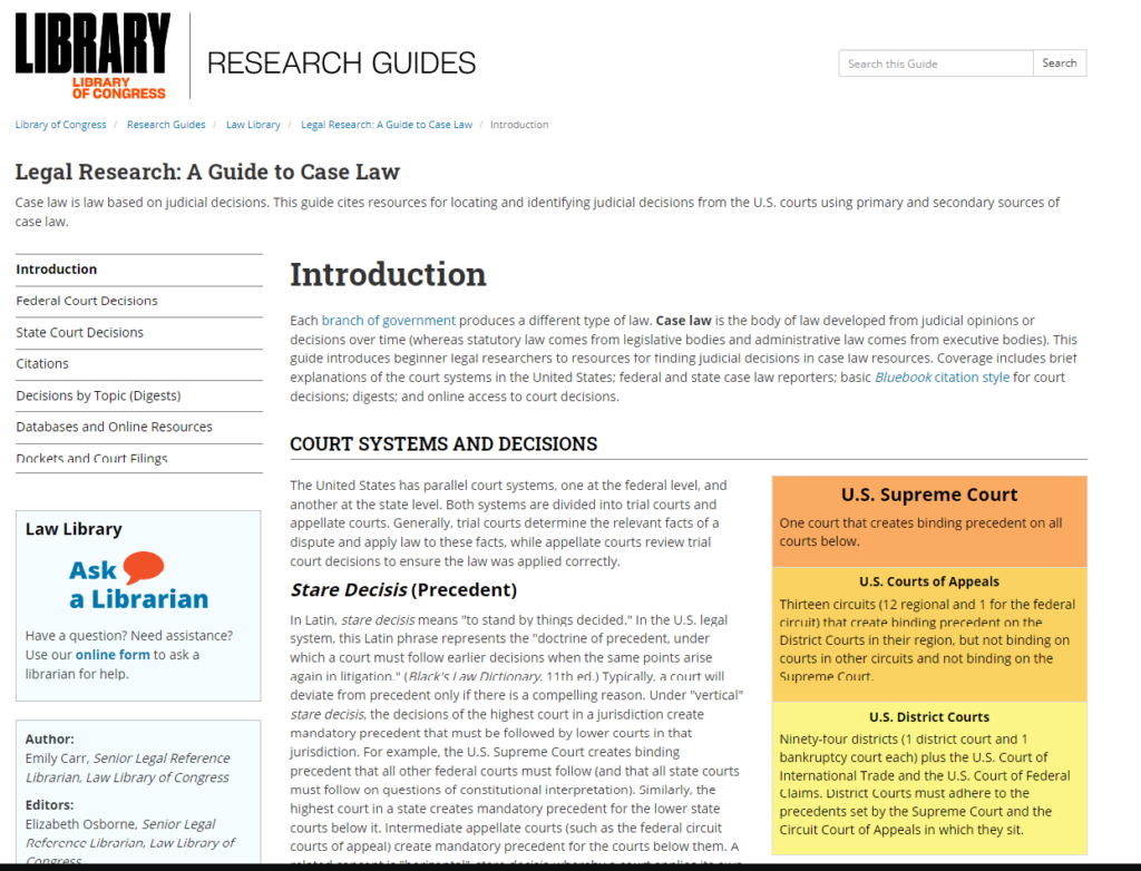 screen shot of law library case law research guide
