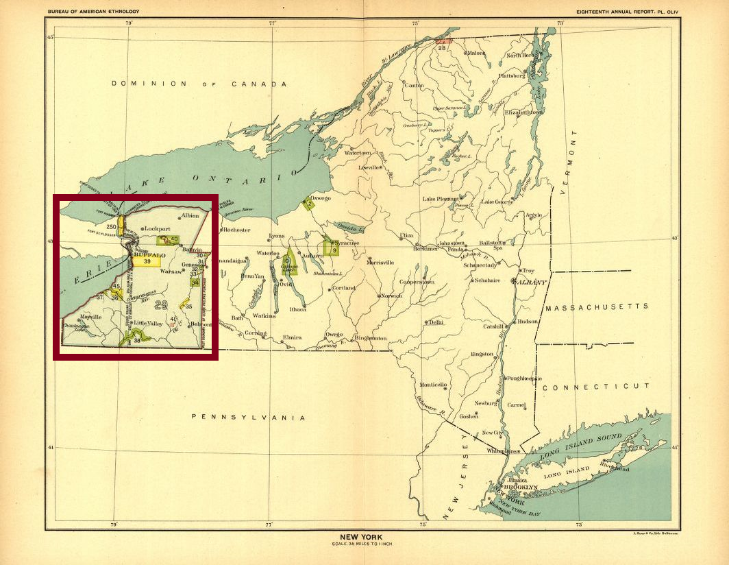 Color scan of map of the state of New York, indicating physical features, cities, and Native American land claims by the United States as of 1899. Red-violet box drawn around the area of the Seneca nation, in which the Tonawanda Seneca Band resided.