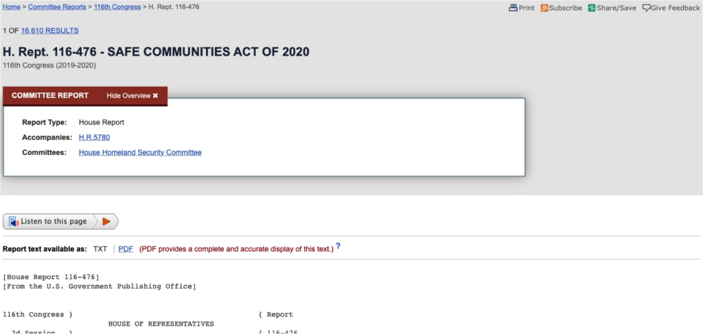 Listen to this page on a committee report on Congress.gov