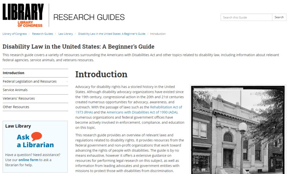 Screen capture of the front page of the Law Library's guide on US disability laws