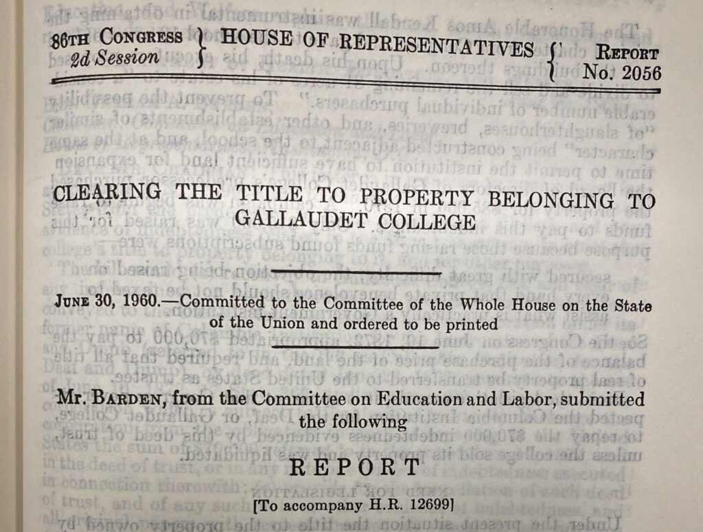 "Photograph of title page of H. Doc. 2056. Shows title: ""Clearing Title to Property Belonging to Gallaudet College."""