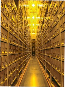 Shelves at Library of Congress Ft. Meade storage facility — Gail Fineberg photo