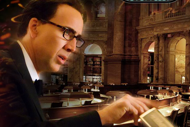 "Image of Nicolas Cage as ""Ben Gates"" in the Main Reading Room of the Library of Congress from NT2's official Web site"