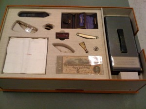 Image of the contents of Lincoln's pockets on the night he was assassinated
