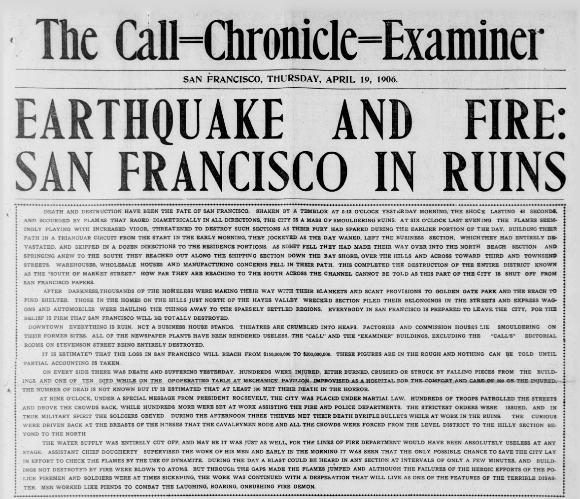 Front page of Call-Chronicle-Examiner after 1906 San Francisco earthquake