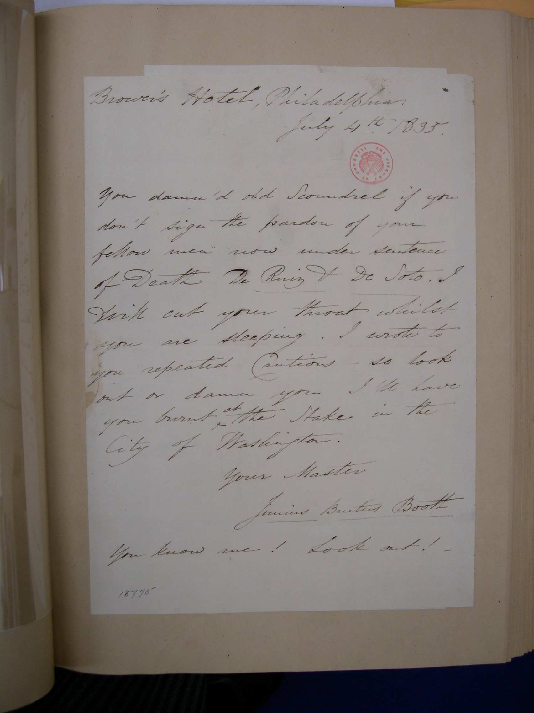 Letter from Junius Brutus Booth to Andrew Jackson