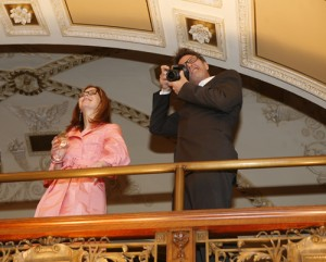 Dana Delany and Tim Daly of The Creative Coalition look down upon a VIP reception at the Library of Congress on April 29, 2010. (Abby Brack photo)