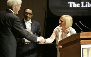 James H. Billington is presented The Creative Coalition's 2010 Spotlight Award by Spike Lee and Patricia Arquette. (Abby Brack photo)