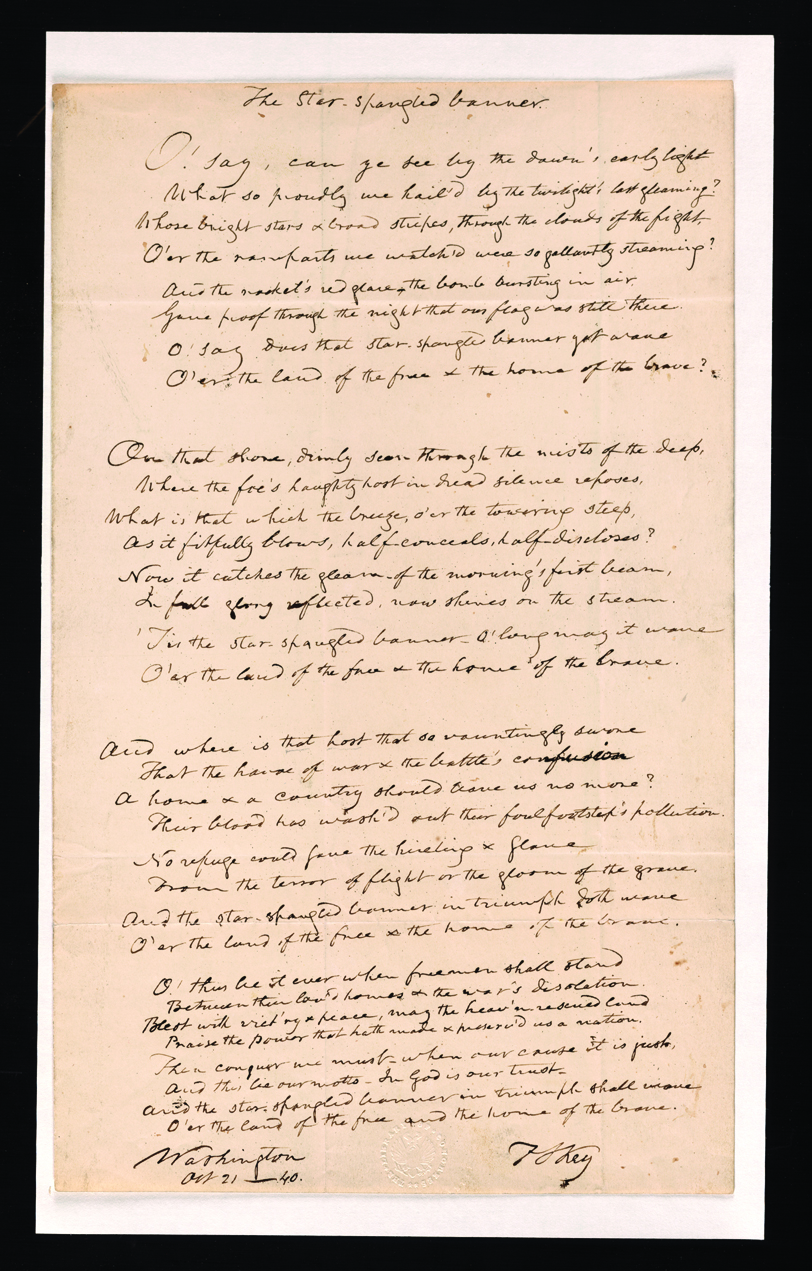First Drafts The Star Spangled Banner Library Of