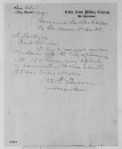 William T. Sherman to Abraham Lincoln, Thursday, Dec. 22, 1864. Manuscript Division.