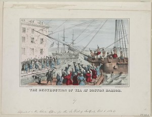 The destruction of tea at Boston Harbor. 1846. Prints and Photographs Division.