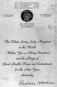 Christmas card from Mrs. Harry Houdini. 1935. Rare Book and Special Collections Division.