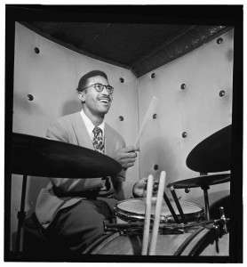 Max Roach performs at the Three Deuces club in New York in 1947. William P. Gottlieb Collection / Music Division.