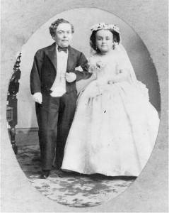 Tom Thumb and his bride, Lavinia Warren, in wedding attire. 1863. Prints and Photographs Division.