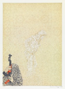 "Ambreen Butt. Untitled print from the series ""Daughter of the East."" Etching and aquatint. 2008."