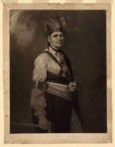 Joseph Brant, engraving of a portrait by George Romney, ca. 1776.  Ephraim Douglass met with Joseph Brant at Fort Niagara, which was in British hands in 1783.