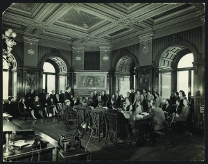 An all-staff meeting is held in the Senate Reading Room (now the Jefferson Congressional Reading Room). 1948. Prints and Photographs Division.