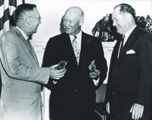 President Dwight D. Eisenhower, center, meets with NASA's first administrator and deputy administrator, Thomas Keith Glennan, right, and Hugh Dryden, left, 1958. National Aeronautics and Space Administration.