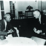 Roy Wilkins meets with President Lyndon B. Johnson at the White House to discuss strategies for securing passage of the Voting Rights Act of 1965. Prints and Photographs Division.