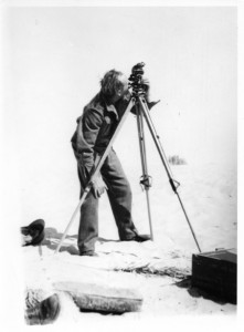 W. B. Kennedy Shaw taking theodolite observations from which to compute latitude and longitude. c. 1935. Courtesy of Meg Kennedy Shaw.