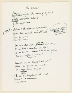 """The Way We Were,"" Holograph lyrics, Alan and Marilyn Bergman, 1973. ASCAP Foundation Collection, Music Division."