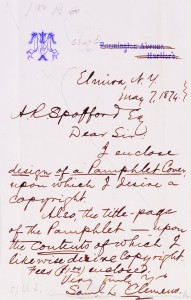 Letter from Samuel Clemens to Librarian of Congress Ainsworth Rand Spofford requesting a copyright for his pamphlet, May 7, 1874. Prints and Photographs Division.