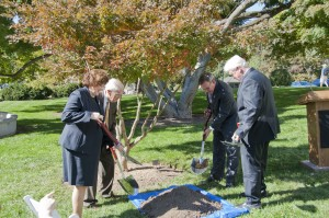 CRS Director Mary B. Mazanec, Librarian of Congress James H. Billington (from left), Architect of the Capitol Stephen Ayers and Rep. Jim Moran shovel dirt around a newly planted commemorative tree on Monday. Photo by David Rice.