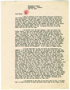 Letter from Martha Graham to Aaron Copland, July 22, 1943. The Aaron Copland Collection, Music Division.
