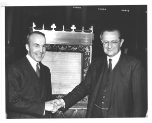 Former Librarian of Congress Archibald MacLeish greets Marquess of xxxx at WWII ceremony displaying Magna Carta at the Library