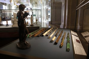 Flutes and a statuette from the Dayton C. Miller Collection on display this month