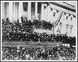 Abraham Lincoln reading his Second Inaugural Address. This was the only event at which President Lincoln was photographed while delivering a speech. Prints and Photographs Division, Library of Congress.