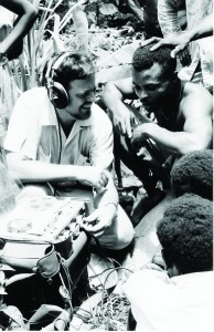 Alan Lomax records the music and language of the people living in La Plaine, Dominica, in 1962. Antoinette Marchand, Alan Lomax Collection, American Folklife Center.
