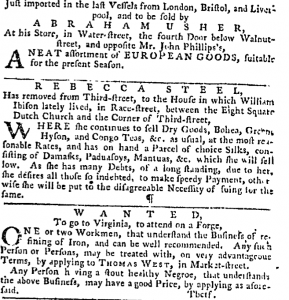 Rebecca Steel, advertisement, Pennsylvania Gazette, Oct. 9, 1766.