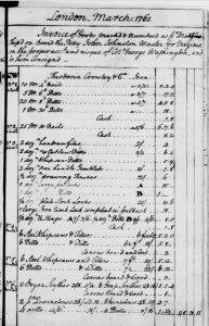 Invoice for nails, files, knives, locks, hinges, and other goods purchased by George Washington from Theodosia Crowley and Co., March 1761.  George Washington Papers, Manuscript Division, Library of Congress.